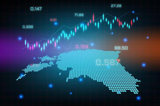 Sfondo del mercato azionario o grafico commerciale forex trading per il concetto di investimento finanziario della mappa estonia.