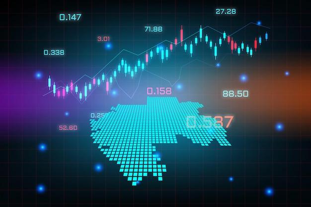 Sfondo del mercato azionario o grafico commerciale forex trading per il concetto di investimento finanziario della mappa del gabon.