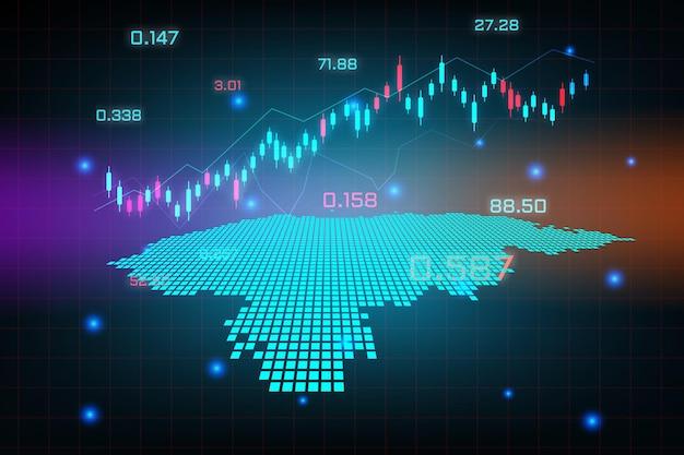 Sfondo del mercato azionario o grafico commerciale forex trading per il concetto di investimento finanziario della mappa dell'honduras. idea di business e design dell'innovazione tecnologica.