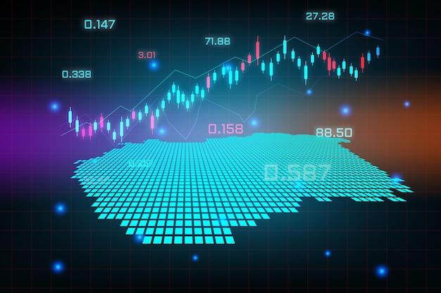 Sfondo del mercato azionario o grafico commerciale forex trading per il concetto di investimento finanziario della mappa dell'ungheria. idea di business e design dell'innovazione tecnologica.