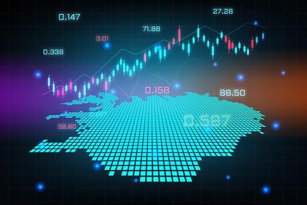 Sfondo del mercato azionario o grafico commerciale forex trading per il concetto di investimento finanziario della mappa dell'islanda. idea di business e design dell'innovazione tecnologica.