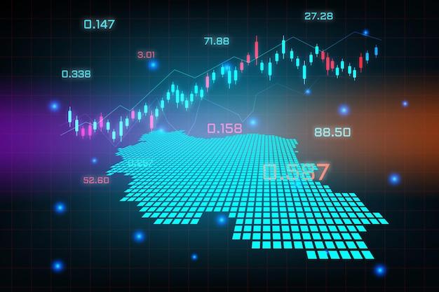 Sfondo del mercato azionario o grafico commerciale forex trading per il concetto di investimento finanziario della mappa dell'iran. idea di business e design dell'innovazione tecnologica.