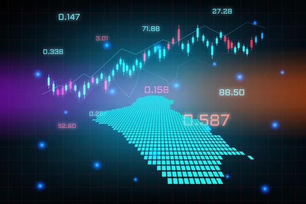 Sfondo del mercato azionario o grafico commerciale forex trading per il concetto di investimento finanziario della mappa dell'iraq. idea di business e design dell'innovazione tecnologica.