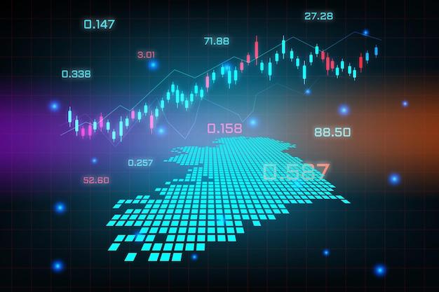 Sfondo del mercato azionario o grafico commerciale forex trading per il concetto di investimento finanziario della mappa dell'irlanda. idea di business e design dell'innovazione tecnologica.