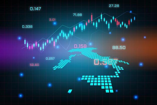 Sfondo del mercato azionario o grafico commerciale forex trading per il concetto di investimento finanziario della mappa dell'italia. idea di business e design dell'innovazione tecnologica.