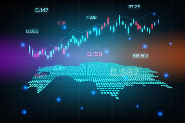 Sfondo del mercato azionario o grafico commerciale forex trading per il concetto di investimento finanziario della mappa del kazakistan. idea di business e design dell'innovazione tecnologica.