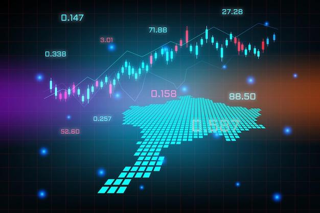 Sfondo del mercato azionario o grafico commerciale forex trading per il concetto di investimento finanziario della mappa del kosovo. idea di business e design dell'innovazione tecnologica.