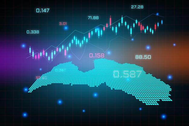 Sfondo del mercato azionario o grafico commerciale forex trading per il concetto di investimento finanziario della mappa della lettonia. idea di business e design dell'innovazione tecnologica.