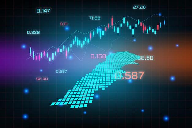 Sfondo del mercato azionario o grafico commerciale forex trading per il concetto di investimento finanziario della mappa del libano. idea di business e design dell'innovazione tecnologica.