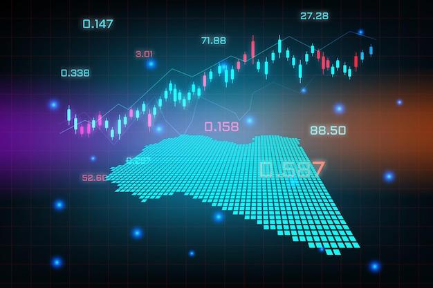 Sfondo del mercato azionario o grafico commerciale forex trading per il concetto di investimento finanziario della mappa della libia. idea di business e design dell'innovazione tecnologica.