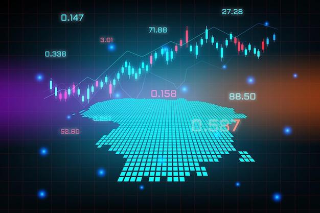 Sfondo del mercato azionario o grafico commerciale forex trading per il concetto di investimento finanziario della mappa della lituania. idea di business e design dell'innovazione tecnologica.
