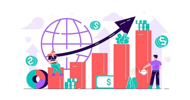 Concetto di borsa. persone in crescita del denaro con indicatori positivi e di successo. miglioramento del valore del business degli investimenti globali. profitto finanziario ed economico con monete. mini illustrazione piatta