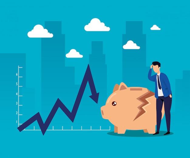 Crollo del mercato azionario con uomo d'affari e salvadanaio