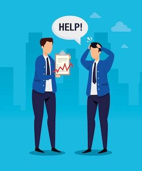 Crollo del mercato azionario con uomini d'affari preoccupati