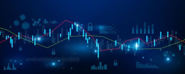 Mercato azionario, grafico economico con diagrammi, concetti e rapporti commerciali e finanziari, tecnologia astratta comunicazione concetto sfondo