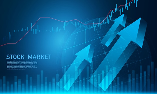 Mercato azionario, grafico economico con diagrammi, concetti e rapporti commerciali e finanziari, priorità bassa astratta di concetto di comunicazione di tecnologia