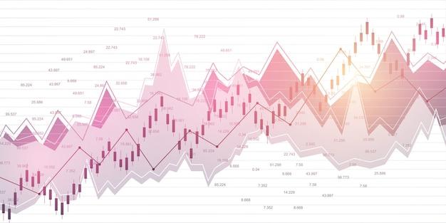 Borsa e borsa. grafico del grafico del bastone della candela di affari del commercio di investimento del mercato azionario dati di borsa. punto rialzista, trend del grafico. illustrazione vettoriale.