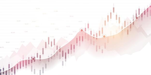 Borsa e borsa. grafico del grafico del bastone della candela di affari del commercio di investimento del mercato azionario. dati di borsa. punto rialzista, trend del grafico. illustrazione vettoriale.