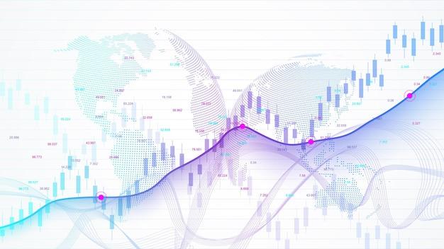 Borsa e borsa. grafico grafico a bastoncino di candela aziendale del trading di investimenti in borsa market