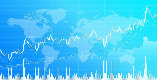 Fondo di trading di investimenti finanziari del grafico a candele di borsa e cambio