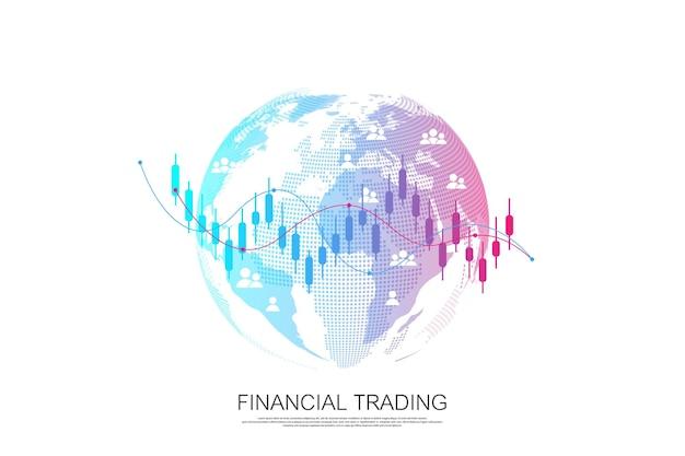 Grafico del grafico commerciale del mercato azionario o forex per il concetto di investimento finanziario. presentazione aziendale per il tuo design e testo. tendenze economiche, idea di business e design dell'innovazione tecnologica.