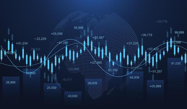 Grafico del mercato azionario o forex trading in un concetto futuristico per l'investimento finanziario o l'idea di business delle tendenze economiche. concetto di commercio finanziario. mercato azionario e scambio vettore grafico del grafico del bastone della candela.