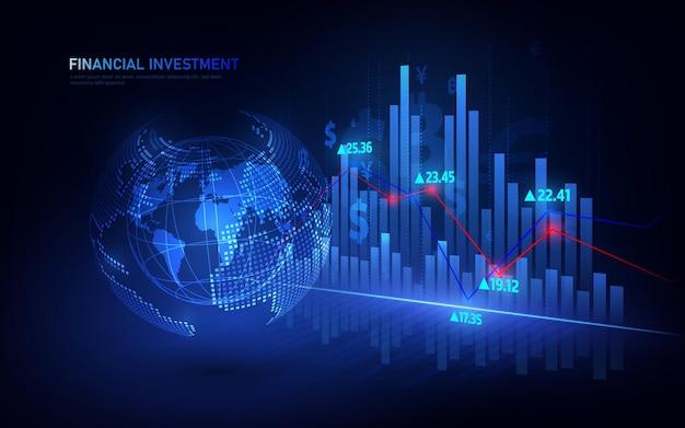 Grafico di trading del mercato azionario o forex nel concetto grafico adatto per investimenti finanziari o idea imprenditoriale di tendenze economiche e tutta la progettazione di opere d'arte.