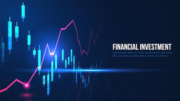 Grafico commerciale del mercato azionario o forex nel concetto grafico Vettore Premium