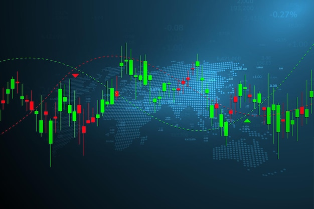 Grafico del mercato azionario o grafico di trading forex per concetti aziendali e finanziari, report e investimenti su sfondo scuro. illustrazione vettoriale