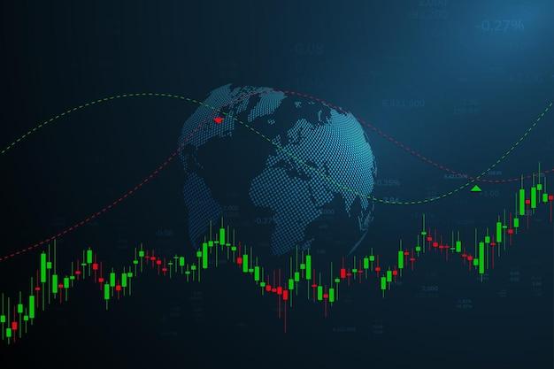 Grafico del mercato azionario o grafico di trading forex per rapporti di concetti aziendali e finanziari e investimenti su sfondo scuro