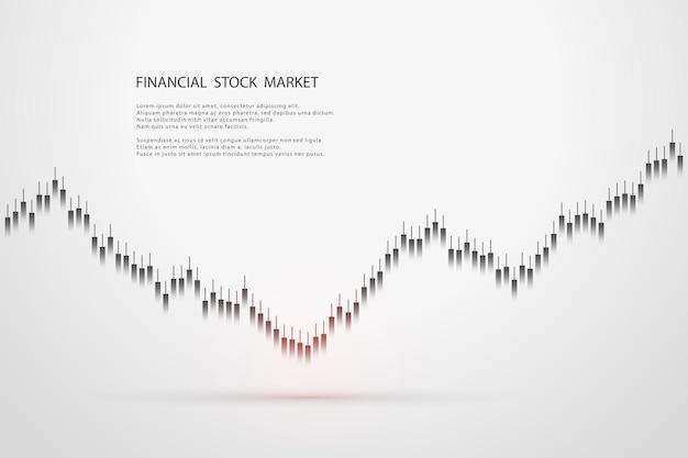 Grafico del mercato azionario o grafico di trading forex per concetti aziendali e finanziari, report e investimenti su sfondo grigio. candele giapponesi. illustrazione vettoriale