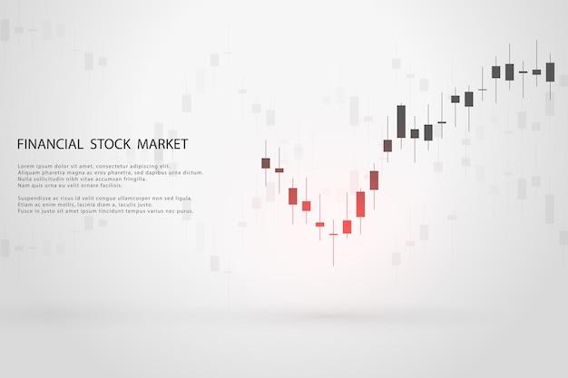 Grafico del mercato azionario o grafico di trading forex per rapporti di concetti commerciali e finanziari e investimenti su sfondo grigio