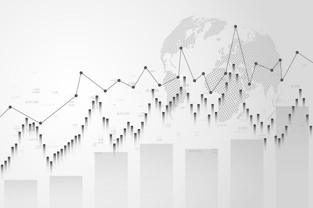 Grafico del mercato azionario o grafico di trading forex per rapporti e investimenti sui concetti aziendali e finanziari