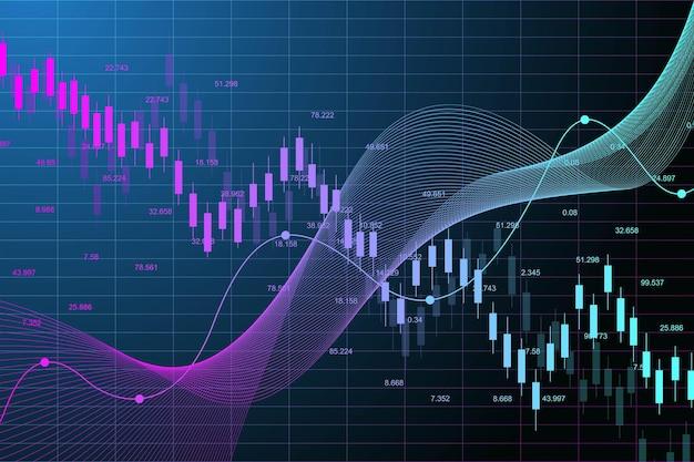 Grafico del mercato azionario o grafico di trading forex per concetti aziendali e finanziari. dati di borsa. punto rialzista, trend del grafico. illustrazione vettoriale