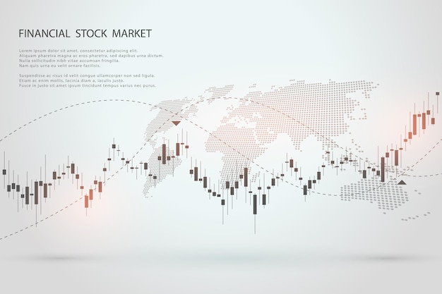 Grafico del mercato azionario o grafico di trading forex per concetti aziendali e finanziari sfondo vettoriale