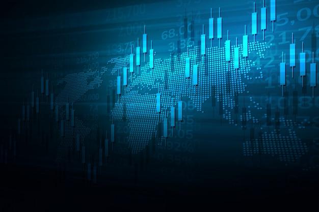 Grafico del mercato azionario o grafico di trading forex per concetti commerciali e finanziari