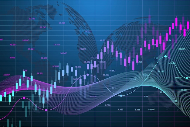 Grafico del mercato azionario o grafico di trading forex.