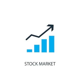 Icona del mercato azionario. illustrazione dell'elemento logo. disegno di simbolo del mercato azionario da 2 collezione colorata. semplice concetto di mercato azionario. può essere utilizzato in web e mobile.