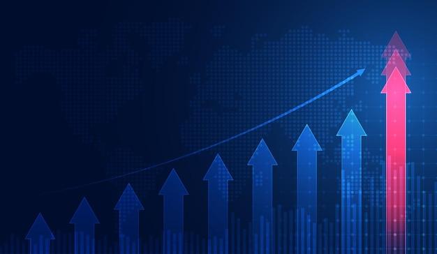 Grafico commerciale di investimento del mercato azionario nel concetto grafico adatto a investimento finanziario