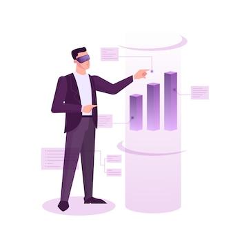 Concetto di banner web del mercato azionario. idea di investimento finanziario e crescita finanziaria. commercio ed economia, uomo d'affari che analizza il grafico dei dati. illustrazione in stile cartone animato