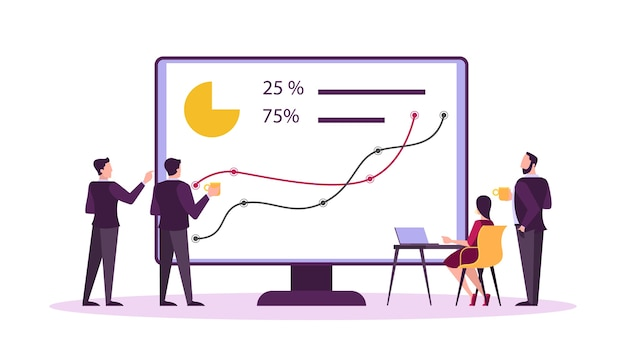 Concetto di banner web del mercato azionario. idea di investimento finanziario e crescita finanziaria. commercio ed economia, uomo d'affari che analizza il grafico dei dati. illustrazione