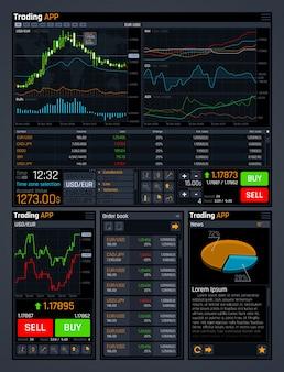 Concetto di trading azionario ui con strumenti di analisi dei dati e grafici del mercato forex finanziario.