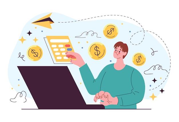 Illustrazione dell'elemento di design piatto di compravendita di azioni