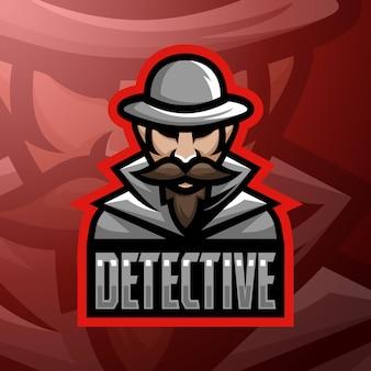 Illustrazione di logo mascotte detective vettoriali stock.