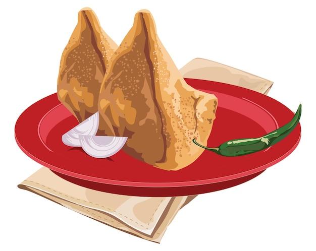 Stock illustrazione vettoriale di samosa fatti in casa serviti in un piatto rosso con peperoncino verde e cipolla