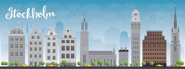 Orizzonte di stoccolma con edifici grigio e blu cielo