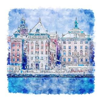 Illustrazione disegnata a mano di schizzo dell'acquerello di stoccolma svezia