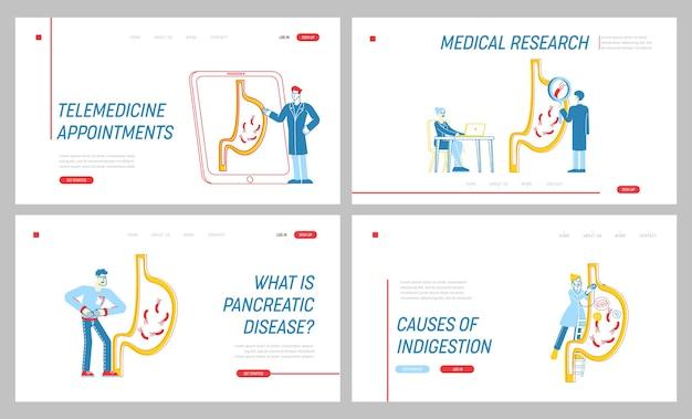 Insieme del modello della pagina di destinazione del dolore addominale dello stomaco