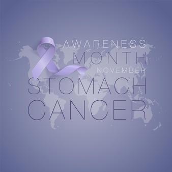 Disegno del manifesto di calligrafia di consapevolezza del cancro allo stomaco nastro di pervinca realistico