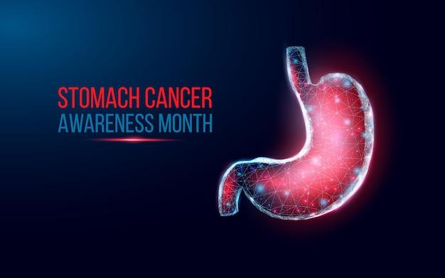 Mese di sensibilizzazione sul cancro allo stomaco. stile wireframe basso poli.